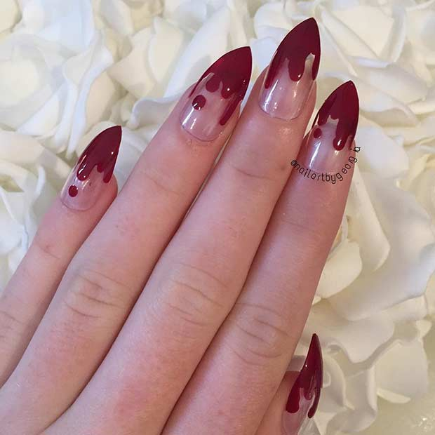 रक्तरंजित French Tip Stiletto Nails for Halloween