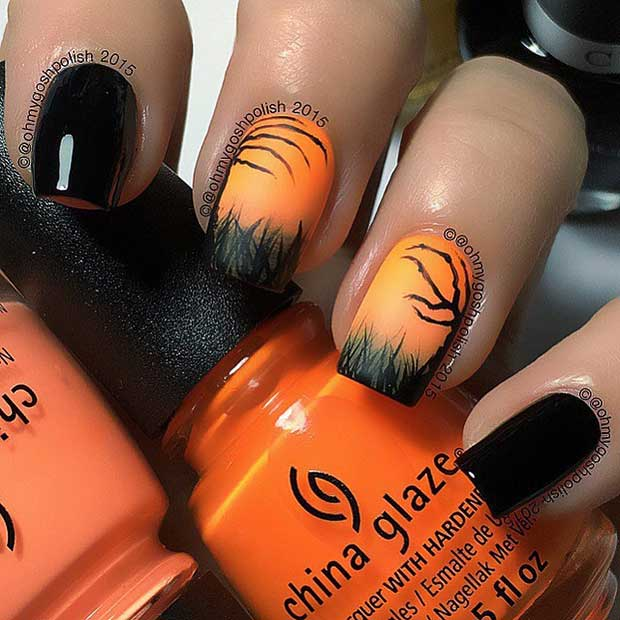 डरावना Silhouettes Halloween Black and Orange Nails