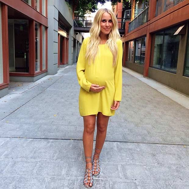 Hosszú Sleeves Yellow Dress Pregnancy Outfit