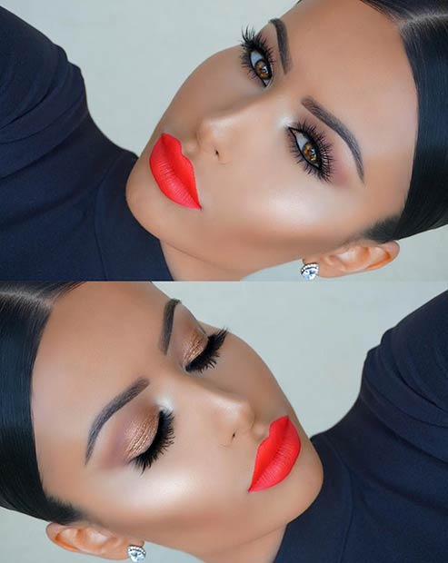 Svijetao Orange Lips Makeup Look for Summer