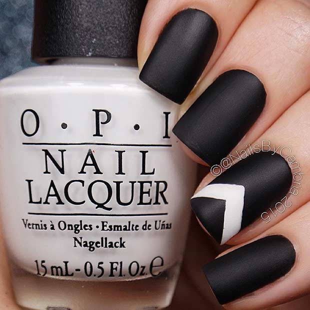 Negru Nails with a Pop of White