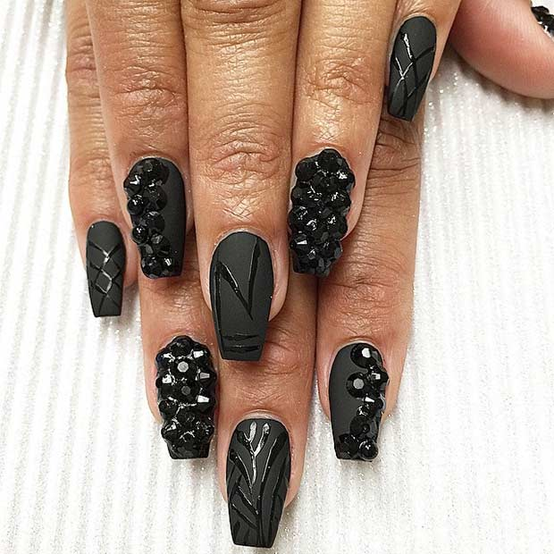 mată Black Nails with Glossy Details