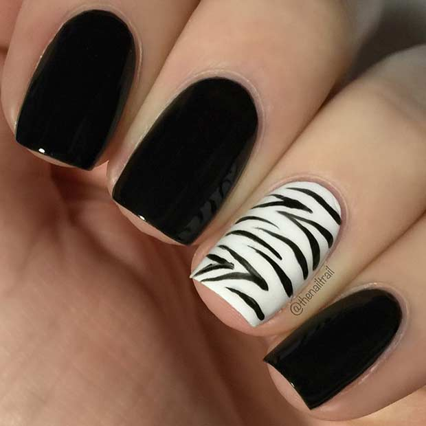 Negru Nails with Zebra Accent Nail