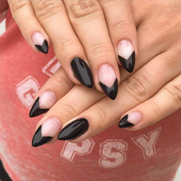 Negru and Negative Space Stiletto Nails