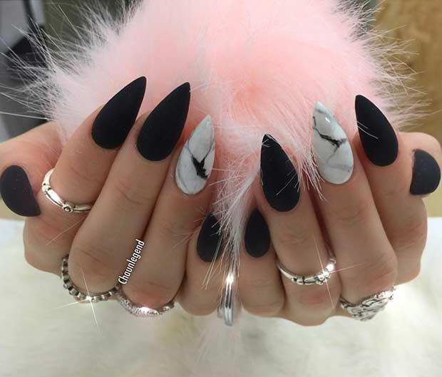 Negru Stiletto Nails with White Marble Accent Nail