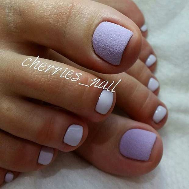mat Pastel Purple Toe Nail Design for Spring