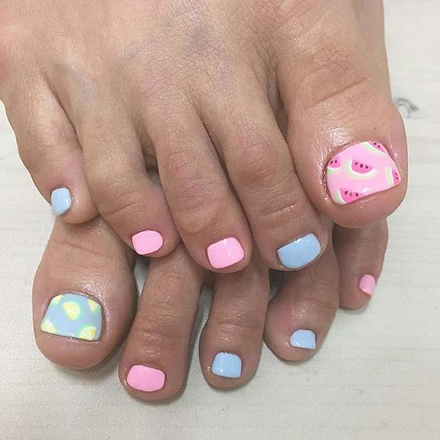 Sevimli Pastel Pink and Blue Toe Nail Design