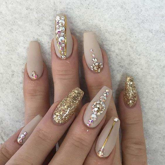 Arany and Nude Matte Coffin Nails