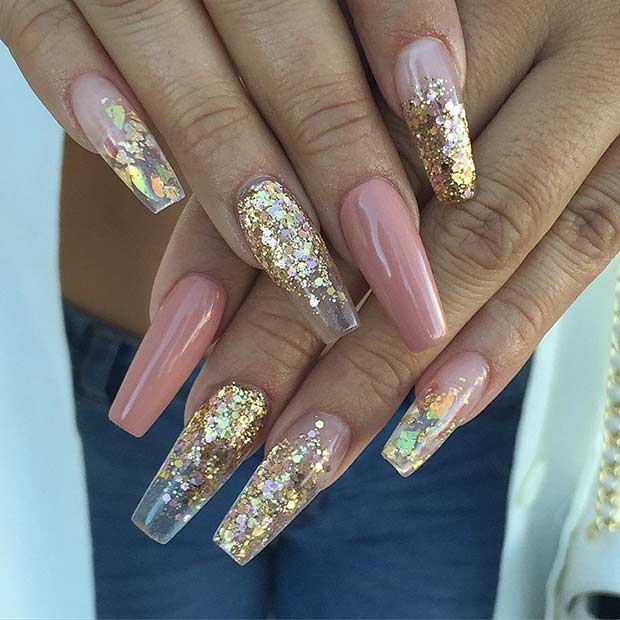Arany Sequin Ballerina Coffin Nails