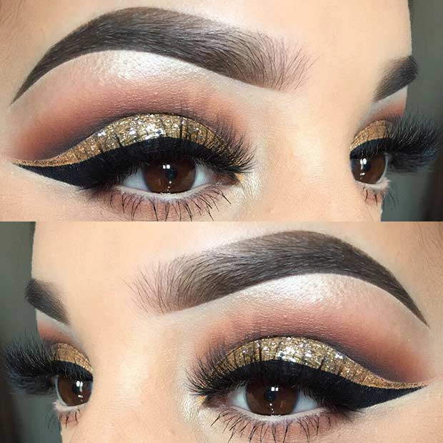 Arany Glitter Cut Crease Eye Makeup for Holidays