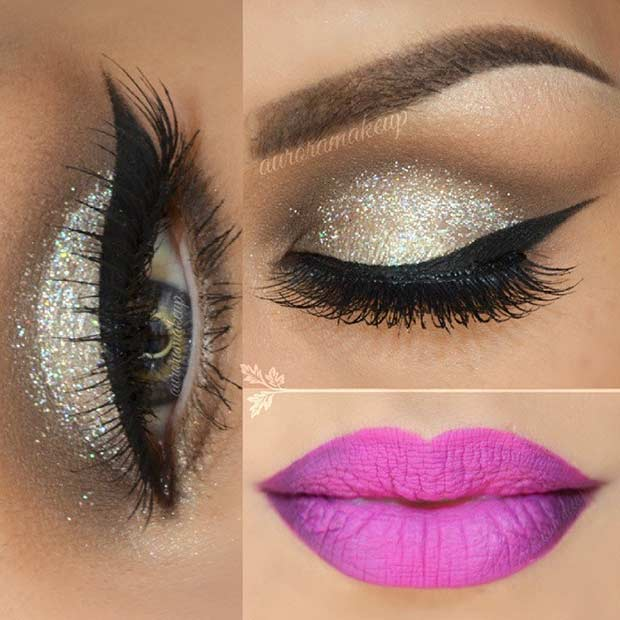 Ezüst Glitter Eyes and Pink Lips Makeup