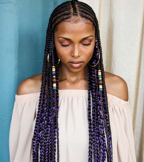 स्टाइलिश Purple Fulani Inspired Braids