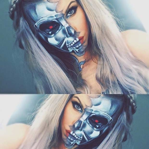 Halv Face Terminator Makeup Look for Halloween