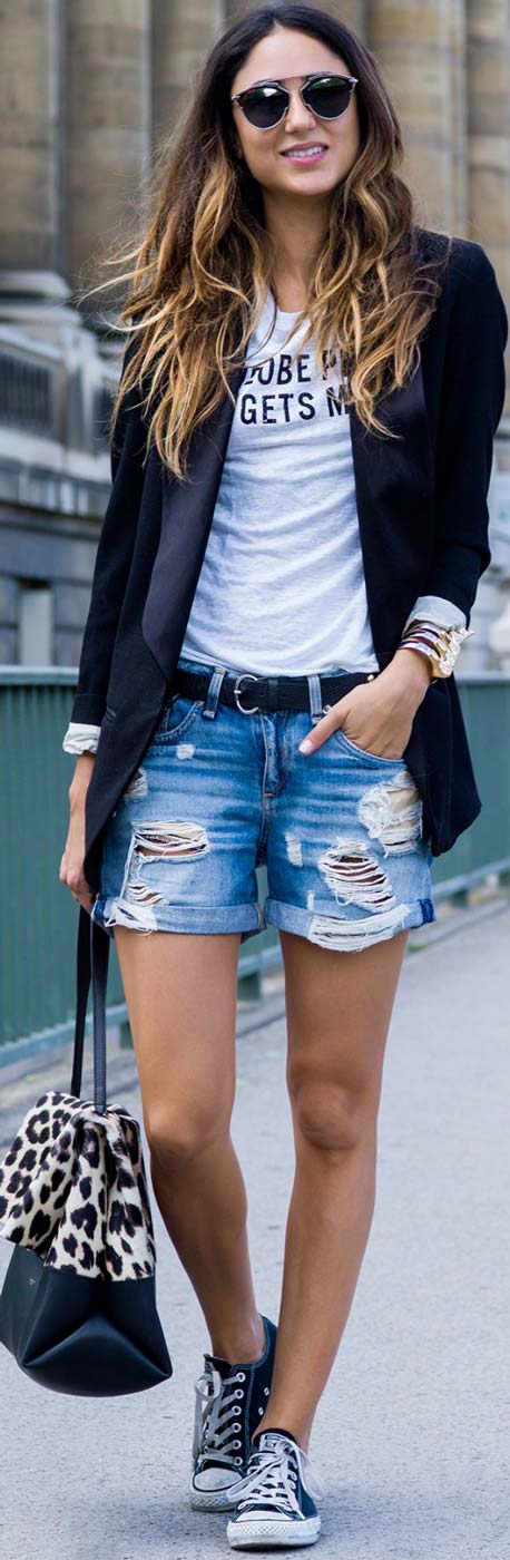 Negru Blazer Denim Shorts Casual Outfit