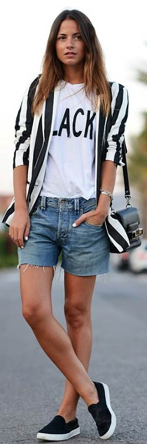 In dungi Blazer Denim Shorts Outfit