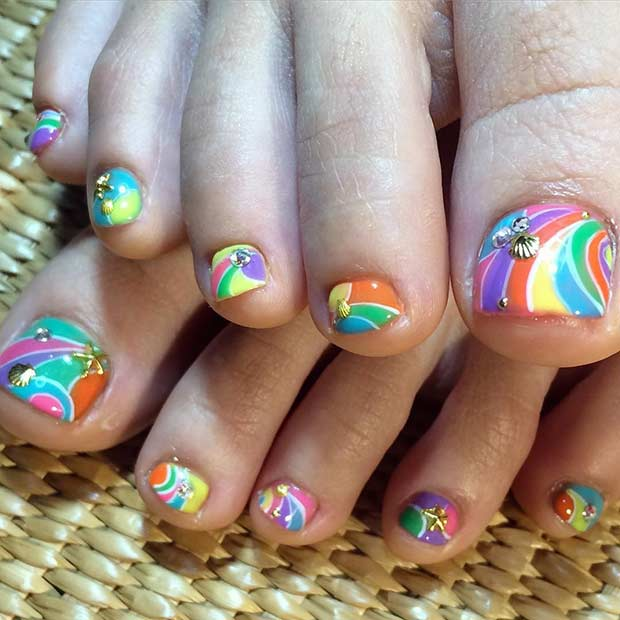 Bright Striped Toe Nail Design for Summer