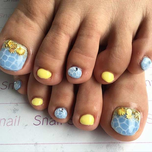 Modra and Yellow Toe Nail Design for Summer