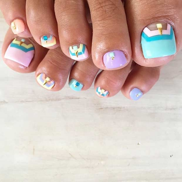 Pastel Toe Nail Design for Summer