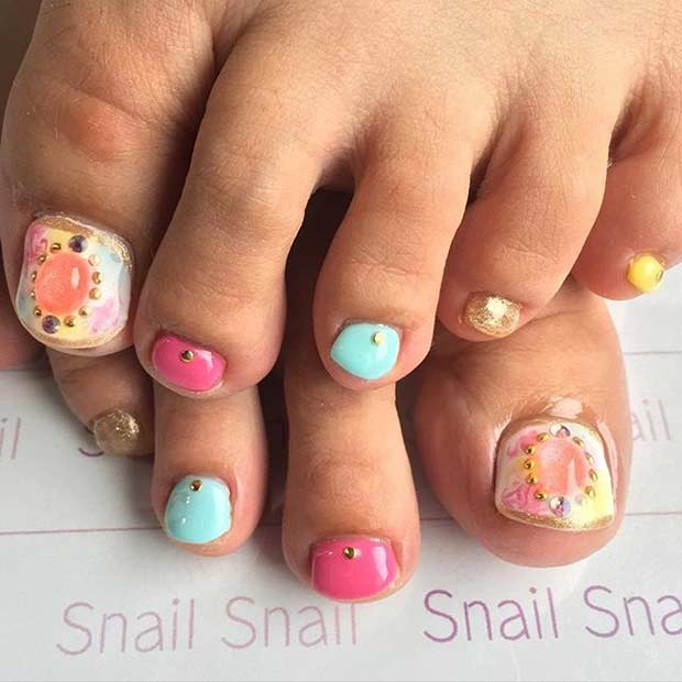 Bright and Colorful Toe Nail Design for Summer