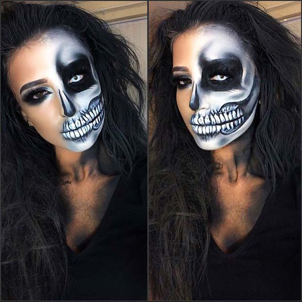 आधा Skull Makeup for Unique Halloween Makeup Ideas to Try