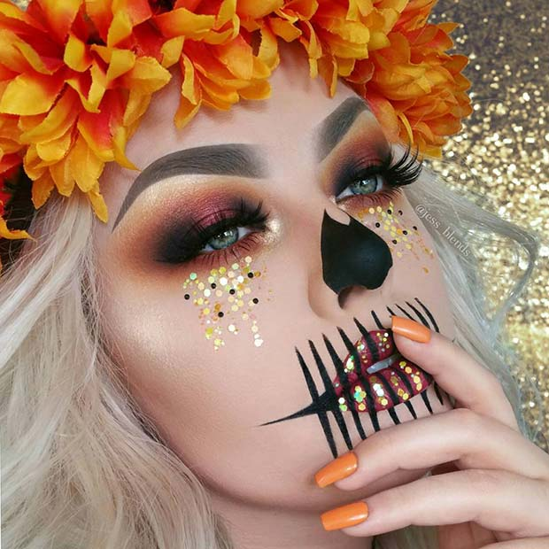 पतझड़ Queen Skull for Unique Halloween Makeup Ideas to Try