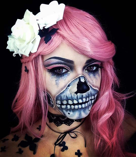 चमक Skull Design for Unique Halloween Makeup Ideas to Try