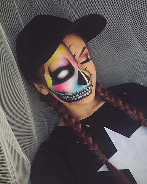 रंगीन Half Skeleton Makeup for Unique Halloween Makeup Ideas to Try