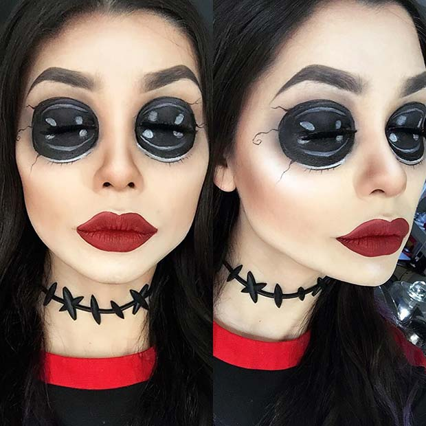 Coraline's Other Mother Makeup for Unique Halloween Makeup Ideas to Try