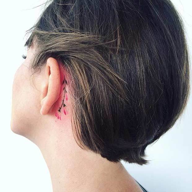 Мали Behind the Ear Twig Watercolor Flower Tattoo Idea