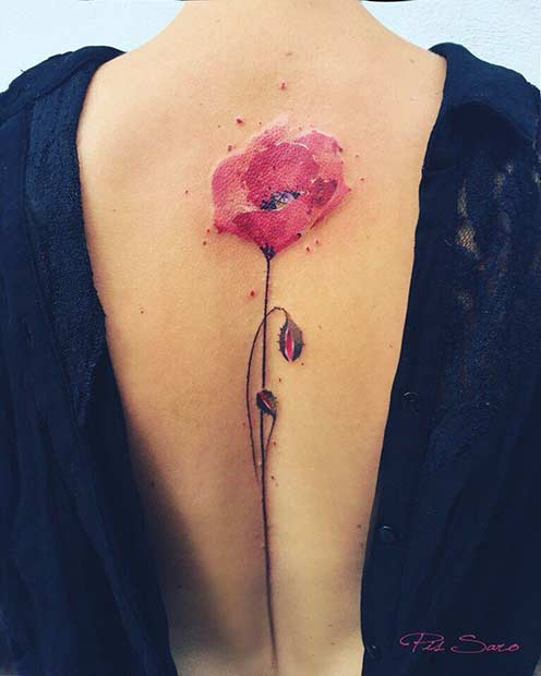 Поппи Watercolor Flower Tattoo Idea for Spine Back