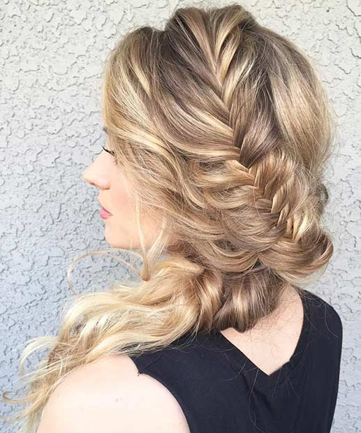 Fishtail Braid to the Side Prom Hair