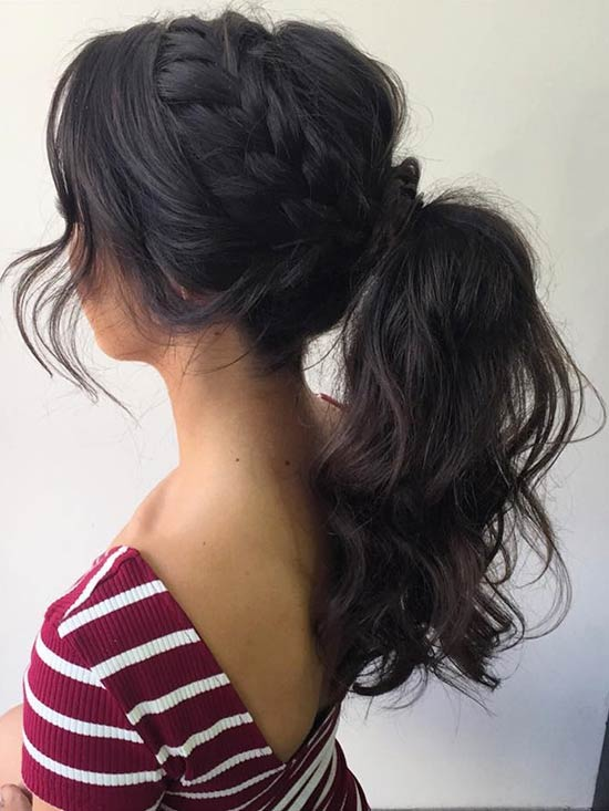 Fonat to a High Curly Ponytail Prom Hair