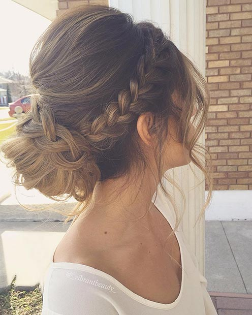 Fonat in a Low Bun Updo Hairstyle for Prom