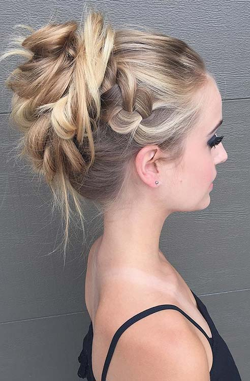 Rendetlen Braided High Bun Updo for Prom