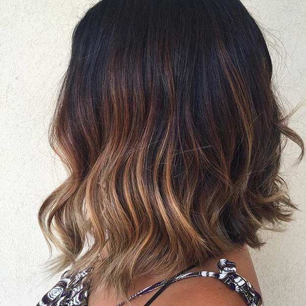 Esmer Lob with Balayage Highlights