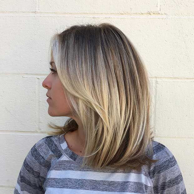 Düz Blonde Long Bob Hairstyle