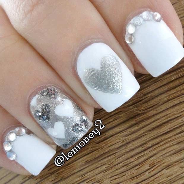 alb and Silver Hearts Nail Art Design for Valentine's Day