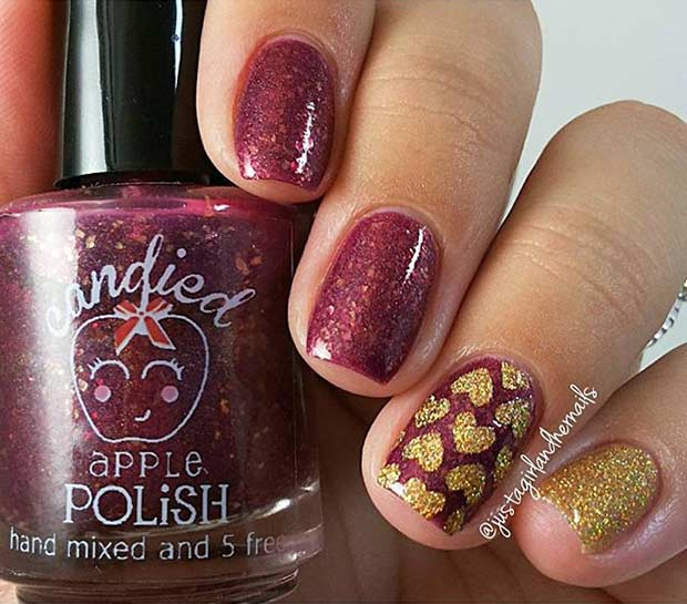 Piros and Gold Hearts Nail Design for Valentine's Day