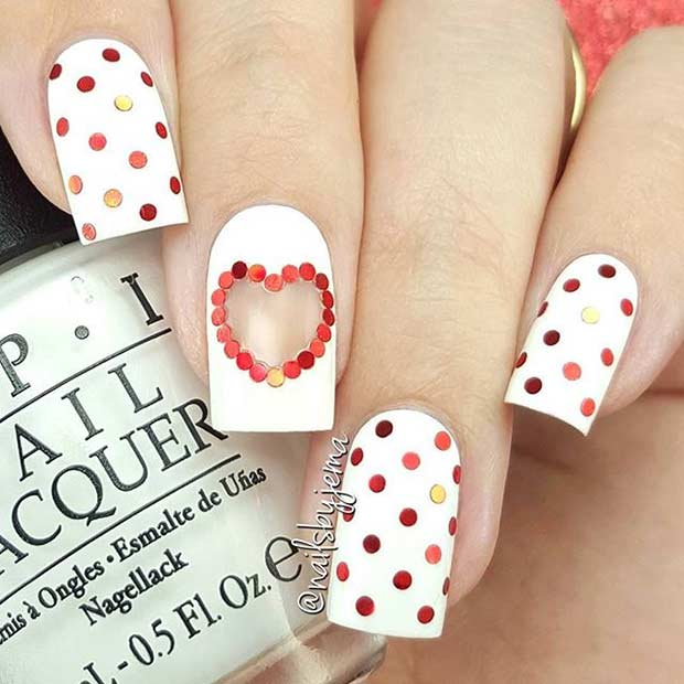Piros and White Polka Dot Nails for Valentine's Day