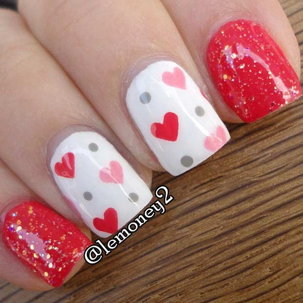 Aranyos Red and White Heart Nails