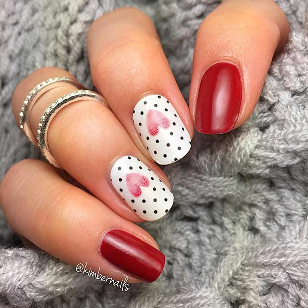 Polka Dots and Hearts Nail Design for Valentine's Day