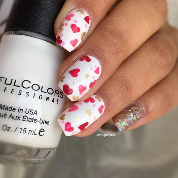 Drăguţ Pink and Red Hearts Nail Art Design for Valentine's Day