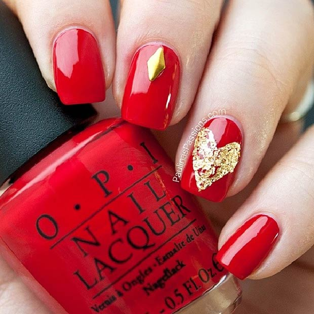 Uşor Red and Gold Heart Nail Design for Valentine's