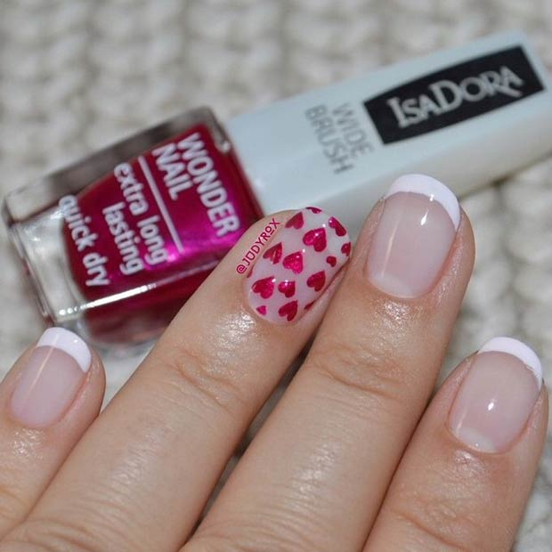 limba franceza Tip and Hearts Nail Design for Valentine's