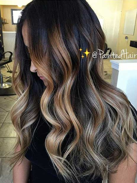 Blondinka and Caramel Highlights on Dark Hair