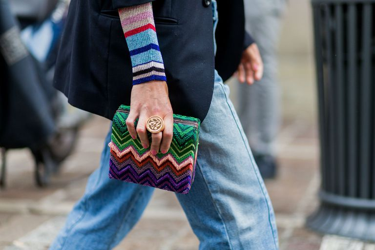 Ulica style Missoni clutch and jeans