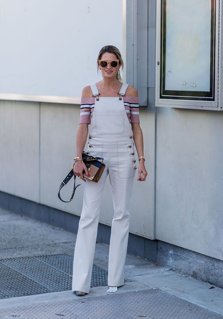 Ulica style fashion in white denim overalls