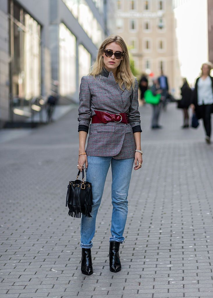 Ulica style fashion belted jacket over denim
