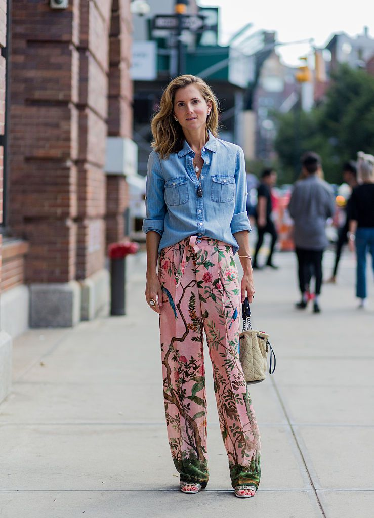 Ulica style denim shirt floral pants