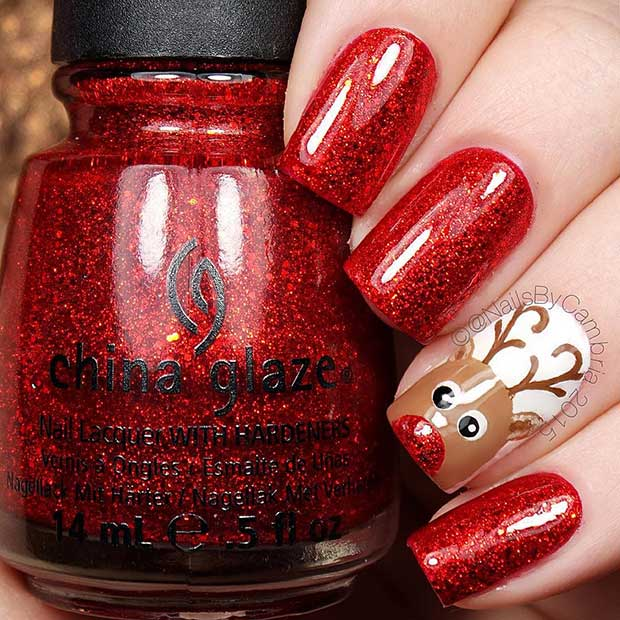 लाल Reindeer Christmas Accent Nail